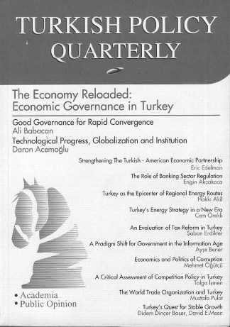 Front cover of Turkish Policy Quarterly, a periodical that discusses politics in Turkey